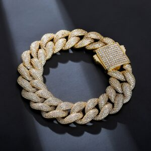 18mm Miami Cuban Link Chain Bracelet Spring Clasp AAA+ CZ Iced Fashion Jewelry