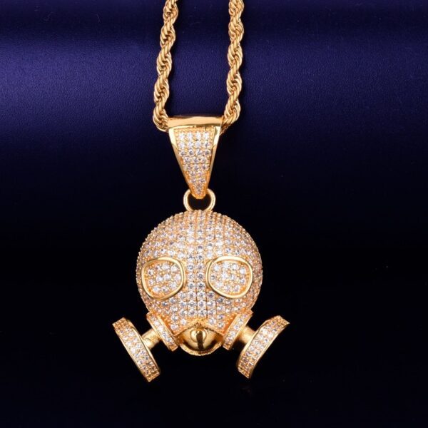 """Skull Mask Unisex AAA+ CZ Rocks Gold/Silver Rope/Tennis Chain 18"""",20"""",24"""" Sizes"""