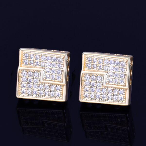 10MM Square Stud Earring Gold/Silver Screw Back AAA+ CZ Rocks Unisex Earrings