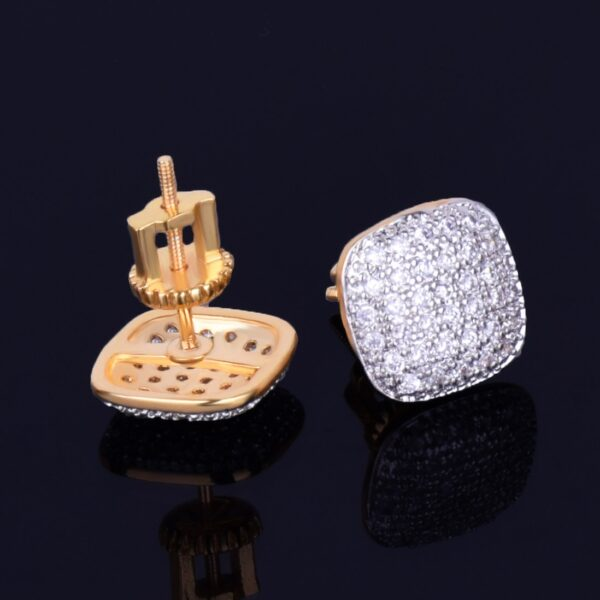 10MM Square Unisex Stud Earring AAA+ CZ Rocks Screw Back Earrings Gold/Silver