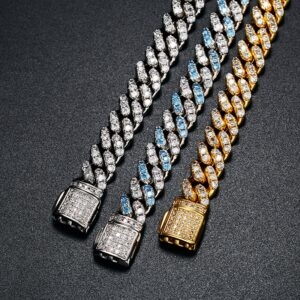 Stylish AAA+ CZ Stones 8mm Miami Cuban Link Bracelet Silver, Blue, Gold Colors