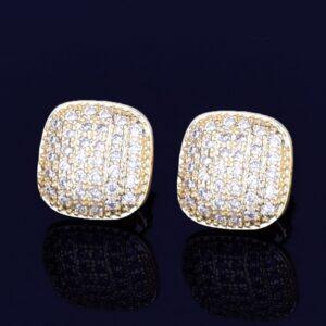 10MM Square Unisex Stud Earring AAA+ CZ Rocks Screw Back Earrings Gold/Silver