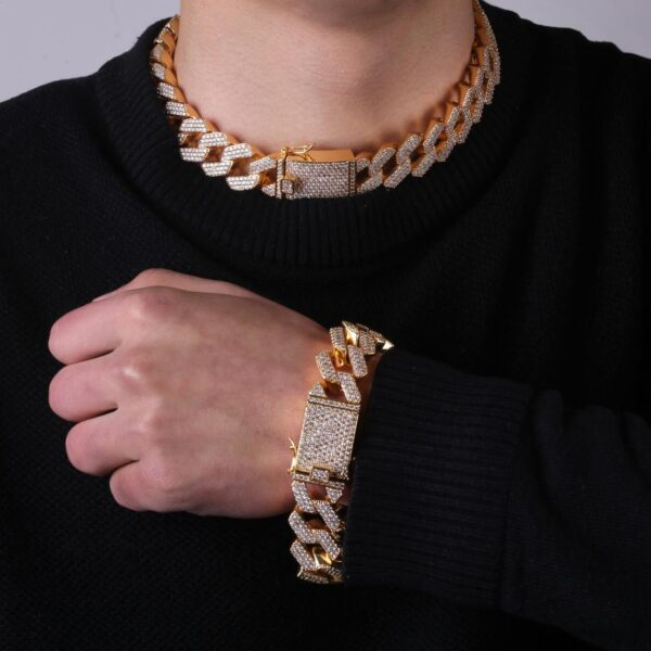 20mm Iced Out AAA+ CZ Rocks Heavy Miami Cuban Link Prong Setting Bling Necklace
