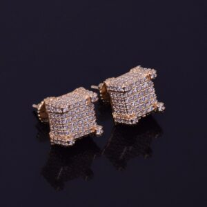 Shiny 10x10mm AAA+ CZ Stone Gold/Silver Square Stud Screw-back Unisex Earrings