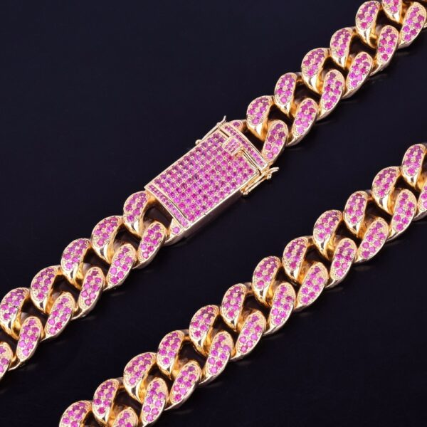 "20mm Heavy Pink AAA+ CZ Rocks Miami Cuban Link Choker Chain Necklace 16"" 18"" 20"""
