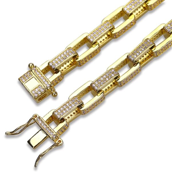 Men's Icy AAA+ CZ Stones Gold/Silver Color Box Link Chain Bracelet
