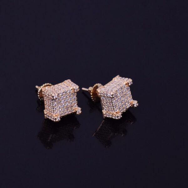 Shiny 10x10mm AAA+ CZ Stone Gold/Silver Square Stud Screw-back Unisex Earrings