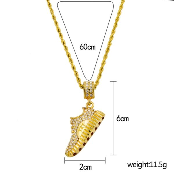 Fashion J's AAA+ CZ Stone Basketball Shoe YZY Pendant With 60cm Rope Chain