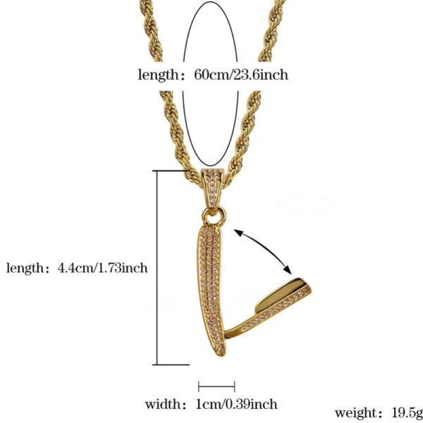 """Urban Style Hip-hop Barber Razor Pendant With 24"""" Rope/Cuban Link Chain"""