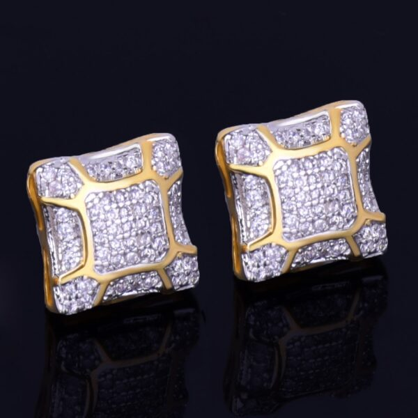 11MM Square AAA+ CZ Stone Stud Earring Unisex Screw Back Fashion Earrings