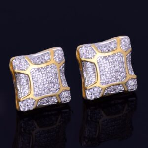 11MM Square AAA+ CZ Stone Stud Earring Unisex Screw Back Fashion Earrings