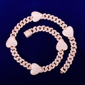 10mm Miami Cuban Link Chain Heart Charm AAA+ CZ Stone Necklace Multi Color