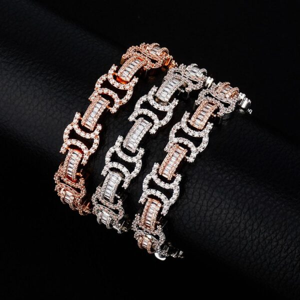 13mm Byzantine High Quality AAA+ Iced Out CZ Stones Unisex Fashion Bracelet