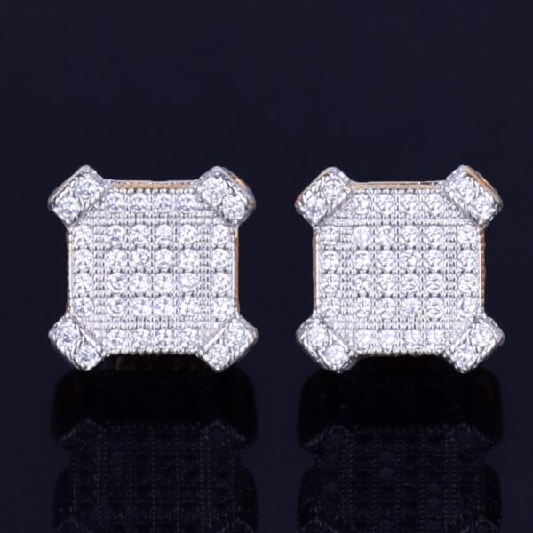 10MM Square Unisex Gold/Silver Color Screw Back AAA+ CZ Rocks Stud Earrings