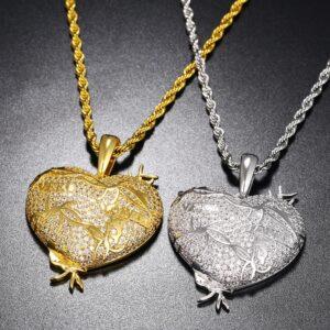 Women's Heart AAA+ CZ Stone Pendant Silver/Gold Fashion Necklace Jewelry Set