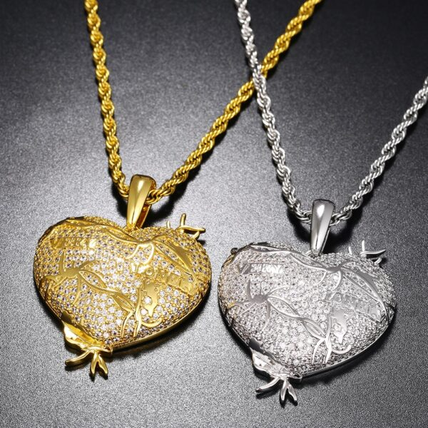 Women's Heart AAA+ CZ Stone Pendant Silver/Gold Fashion Necklace Jewelry Set