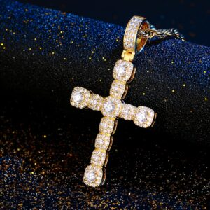 AAA+ Iced Zircon Cross Pendant With Rope Chain, Cuban Link, Or Tennis Necklace