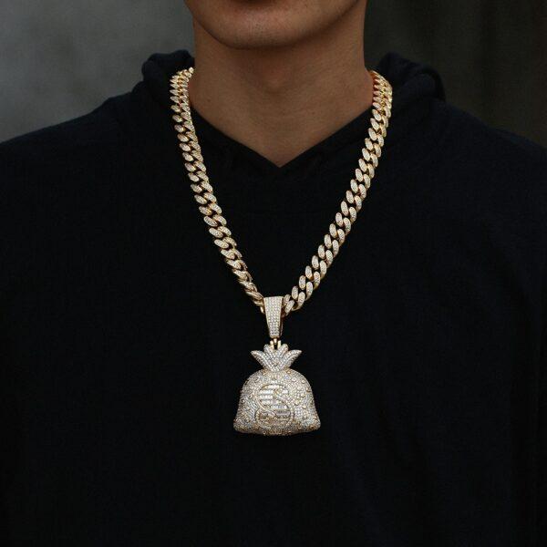 "Men's Flashy AAA+ CZ Stones Big Money Bag Pendant W/18""/24"" Choker Chain Jewelry"