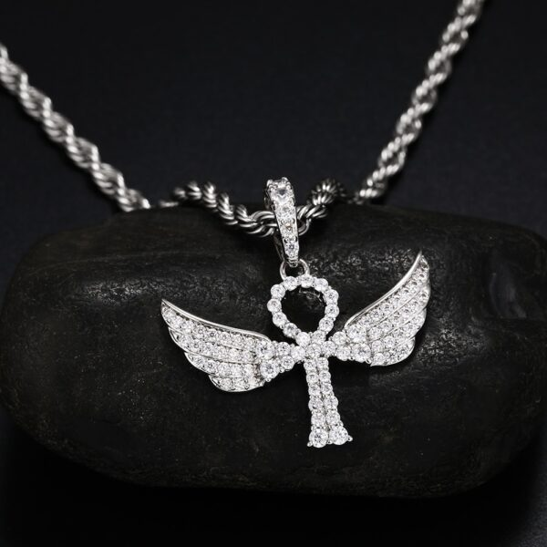 "Egyptian Ankh Angel AAA+ CZ Stone Silver/Gold Color w/20"",24"" Necklace Chain"