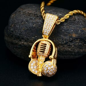 Unisex Microphone Headset AAA+ CZ Stone Pendant w/Silver/Gold Rope Chain Jewelry