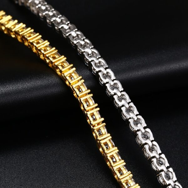 2pcs AAA+ Bling CZ 13mm Cuban Link & 4mm 2 Row Tennis Bracelet Silver/Gold Set