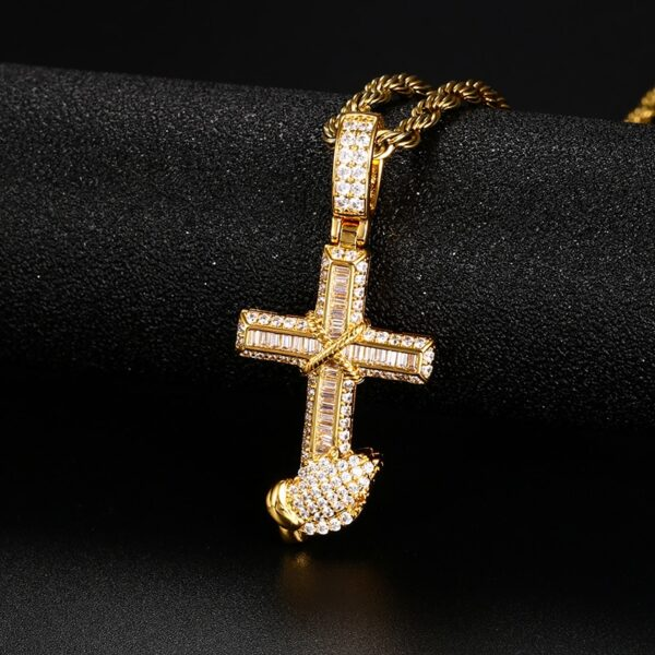 Iced AAA+ CZ Cross Praying Hands Pendant Cuban Link, Rope Chain, Or Tennis Chain