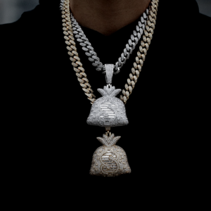 Big Money Bag Pendant With Miami Cuban Choker Link Chain Iced Out AAA+Cz Stones