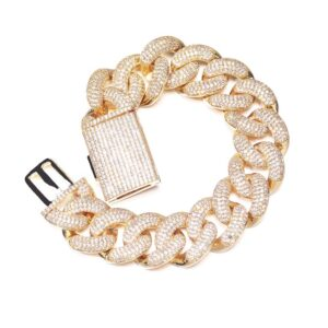 18mm Miami Cuban Link Chain Bracelet Spring Clasp AAA+Cz