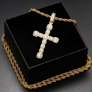 Christian Jewelry Jesus Cross Charm Pendant With Rope Chain Necklace