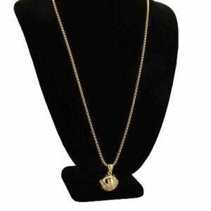 Round Iced Out Basketball Pendant With Round Box Link Chain