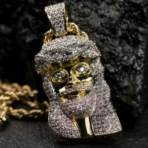 Mini Iced AAA+CZ 2Tone Gold Jesus Piece Pendant With Rope Chain