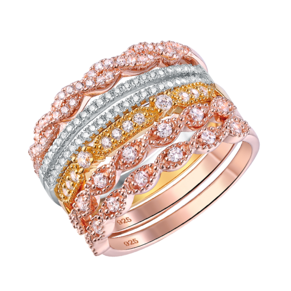 Women's Stackable 925 Silver, Rose Gold Color Twist Deco Ring Set Eternity Band