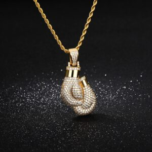 Boxing Gloves Iced AAA+CZ Pendant With 60cm Rope Chain Necklace