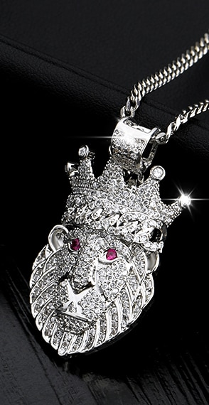 Iced Out AAA+CZ Stones Crown Lion Pendant Gold/Silver With Cuban Link Chain