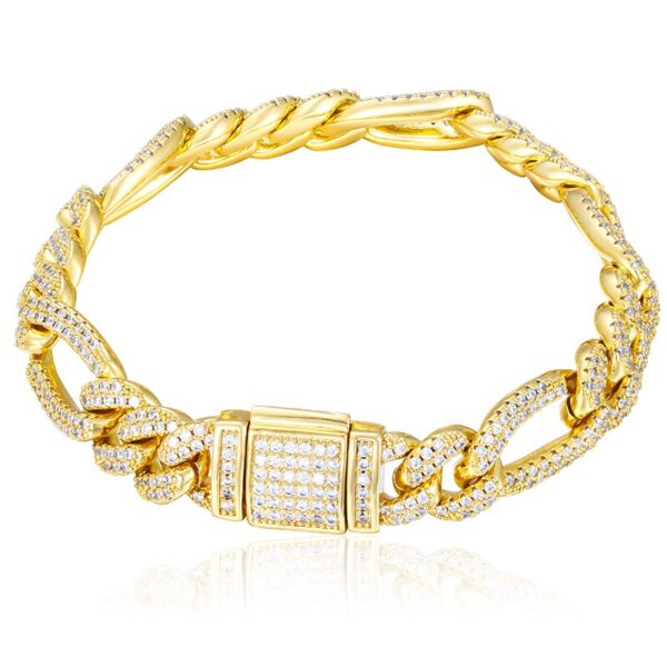 """Top Quality Men's 10mm 8"""" Iced AAA+ CZ Gold/Silver Curb Italian Figaro Bracelet"""