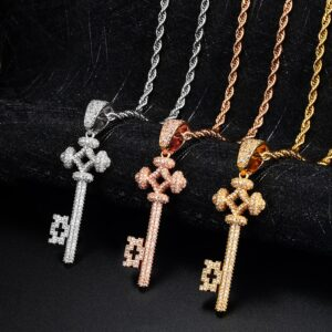 Hollow Key AAA+ CZ Pendant With Cuban Link, Rope Chain, Tennis Necklace