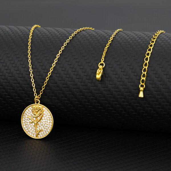 Women's AAA+ Zircon Flower Round Charm Pendant Gold/Silver Choker Necklace