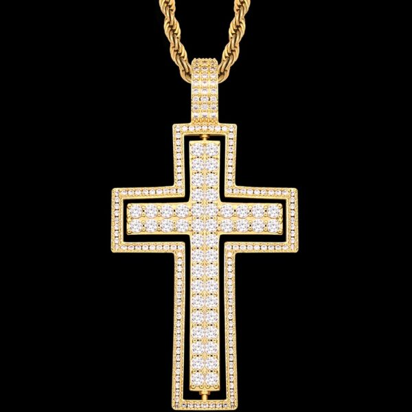Rotating Double-Sided AAA+ CZ Cross Pendant, Cuban Link, Rope, Or Tennis Chain