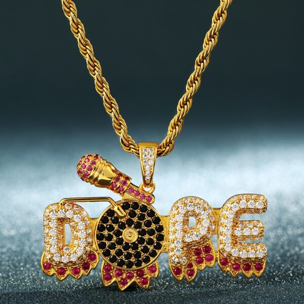 """Dope Mic Turntable Graffiti Pendant AAA+ CZ Stone With 24"""" Necklace Chain"""