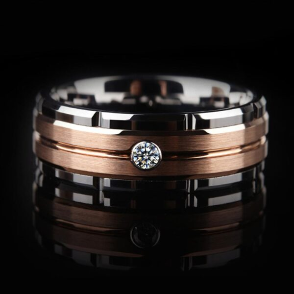 Men's 8mm Tungsten Carbide White AAA+ Zircon Ring Band Size 8-13