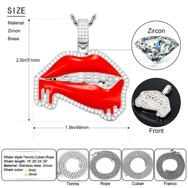 Iced Red lips Dripping AAA+ CZ Pendant With Rope/Tennis/Cuban Chains Of Choice