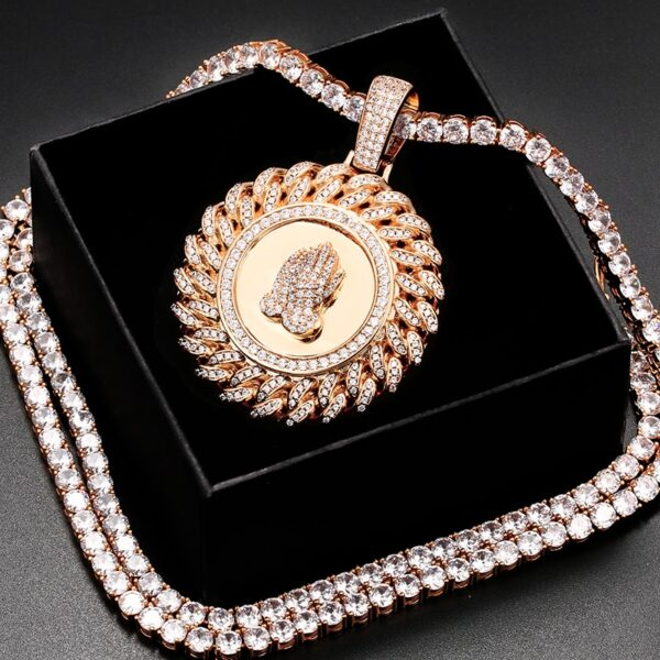 Praying Hands Round Cuban link AAA+CZ Pendant With Chain Necklace Jewelry Set