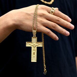 "AAA+ CZ 3.4"" Crucifix Cross Gold/Silver/Rose Gold Color Pendant With Necklace"