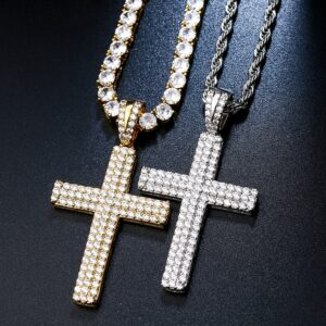 Iced 3-Row AAA+ Zircon Cross Pendant w/ Cuban Link, Rope Chain, Tennis Necklace