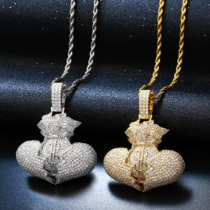 Men's Iced Out Money Bag AAA+CZ Pendant, Tennis, Cuban, Or Rope Chain