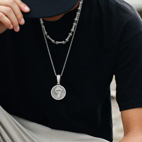 Iced Out AAA+CZ Black Power Round Pendant With Cuban Link, Rope Or Tennis Chain