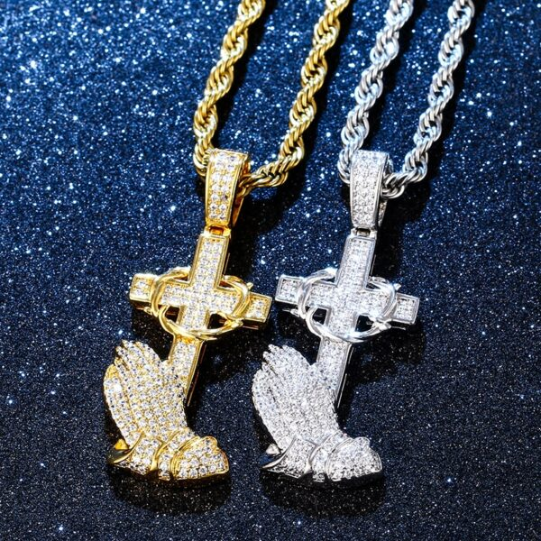 Christ Cross Prayer Hands AAA+ CZ Pendant With Cuban Link, Rope Or Tennis Chain