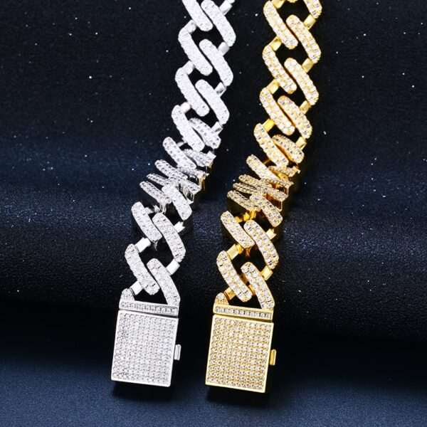"12mm 8"" AAA+ CZ Stones Women's Fashion Gold/Silver Color Link Chain Bracelet"