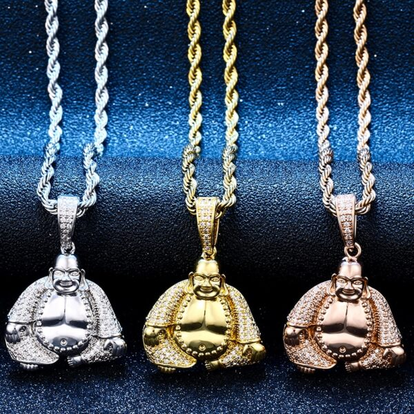 Iced Out Maitreya Buddha AAA+CZ Pendant With Necklace, Sizes 18,20,24,30 inches