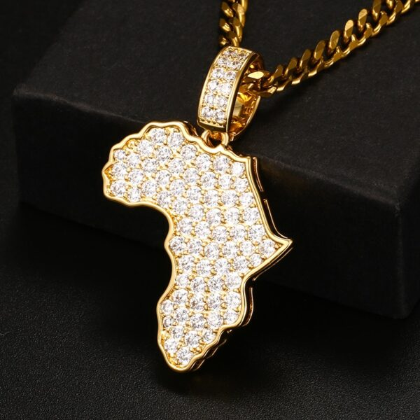Africa Map AAA+ CZ Iced Pendant & Cuban Link, Rope Chain, Tennis Necklace Sets